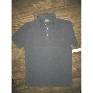 Faherty Golf Polo Shirt Blue Pocket Soft Medium